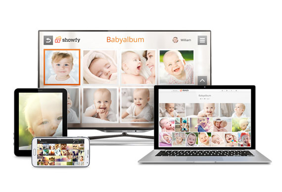 Upload baby photos from your smartphone, tablet or PC